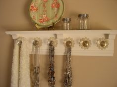 Wall jewelry shelf w/ 5 super large knobs & by Gotahangup on Etsy