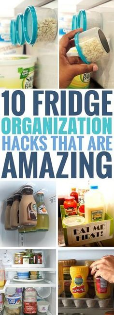 These 10 Fridge Organization Ideas are BRILLIANT! I can't wait to try all of them out. Great kitchen hacks to make sure your fridge stays clean and organized. #clutterhacks