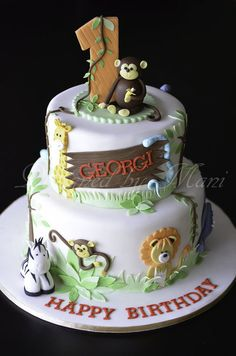 jungle themed birthday cake by Designed By Mani Cake Details… Jungle Birthday Cakes, Jungle Theme Cakes, Safari Cakes, 1st Birthday Cakes, 1st Boy Birthday, Birthday Ideas, Cupcakes, Cupcake Cakes, Zoo Cake
