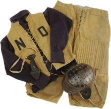 This is badass.    1890's-1900's Notre Dame Game Worn Full Football Uniform