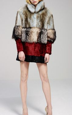 Colorblocked Intarsia Silver Fox And Kid Fur Overcoat by JO NO FUI (=)