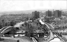 Barton Bridges and Barton from the Power Station roof, taken in May 1965.