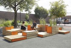Michael Clyde Johnson Untitled Benches Patios Planters in Arrangement (Parklet for Ennis Playground) photograph by Patryce Bak Urban Design Concept, Urban Design Plan, Urban Furniture, Street Furniture, Furniture Market, Design D'espace Public, Poket Park, Landscape Architecture, Landscape Design