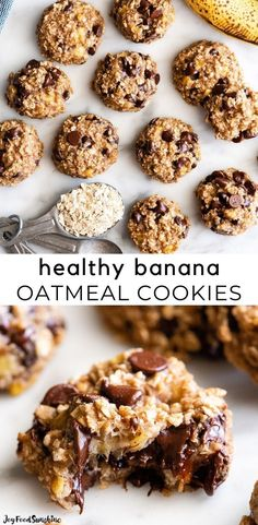 These banana oatmeal cookies are easy to make with a few simple ingredients in 20 minutes. Banana oat cookies are a delicious breakfast, snack or healthy dessert - add chocolate chip or your favorite mix-ins to make them extra-special! Gluten-free & freezer-friendly. Delicious Cookie Recipes, Fun Baking Recipes, Healthy Dessert Recipes, Vegan Desserts, Easy Desserts, Snack Recipes, Bar Recipes, Banana Recipes, Vegan Cake