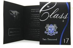 """The Jeremiah verse on this card expresses hope - and the confidence of knowing that the future is in the hands of the One who has plans for good. Our """"Christian Education"""" crest on the front of this contemporary black announcement features blue foil, outlined by detailed silver engraving. The text is written in the first person, """"from the graduate,"""" and expresses thankfulness and hope."""
