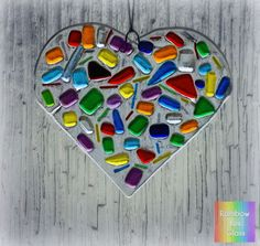 Hanging Heart Fused Glass Rainbow Colours Handmade Decoration Light Catcher