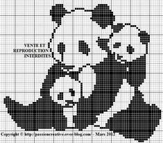 Bonjour, La semaine dernière, je commençais un nouveau thème de grilles : LES PANDAS !!! Voici la troisième grille sur ce thème Pour l'imprimer, cliquez sur l'image Je vous remercie par avance pour la photo de votre ouvrage réalisé à partir d'une de mes... Blackwork Cross Stitch, Cross Stitch Charts, Cross Stitch Designs, Cross Stitch Embroidery, Cross Stitch Patterns, Filet Crochet Charts, C2c Crochet, Fall Knitting, Cross Stitch Animals