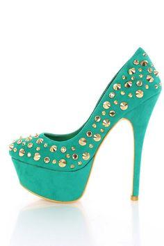 Sea Green Gold Faux Suede Studded Hardware Platform Color Sole Heels @ Amiclubwear Heel Shoes online store sales:Stiletto Heel Shoes,High Heel Pumps,Womens High Heel Shoes,Prom Shoes,Summer Shoes,Spring Shoes,Spool Heel,Womens Dress Shoes,Prom Heels,Prom