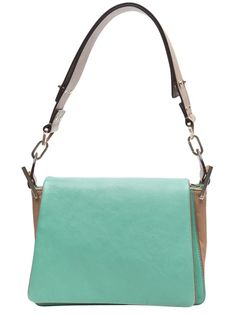 Mini jade soft box purse in paradise green from Chloe. This leather mini box frame shoulder bag features a single wide leather shoulder strap with side buckles, expandable sides, and top flap with snap button closure. Has cotton interior lining with a single slot pocket, and gold hardware throughout. Measures 7