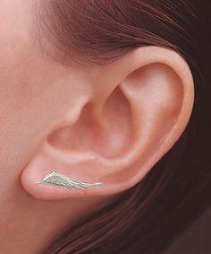Silver Angel Wing Ear Pin Earrings | zulily