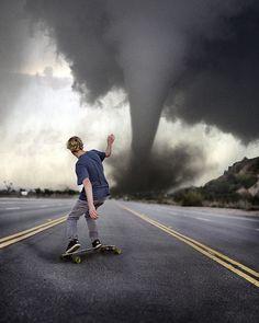 Skate Boarding Towards A Tornado