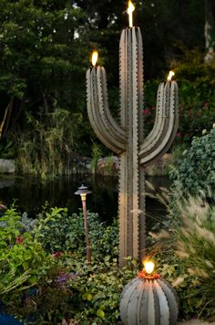 Illuminated Saguaro Cactus Garden Torch