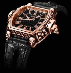 "Daniel Strom ""Agonium"" Memento Mori, Carpe Diem Watch: Most Expensive Goth Garb Ever? Mens Designer Watches, Luxury Watches For Men, Unique Watches, Stylish Watches, Memento Mori, Carpe Diem, Gentleman Watch, Gothic, Skeleton Watches"