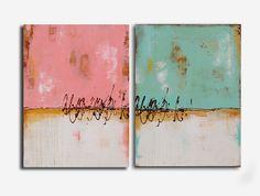 PAINTINGS Set of two original art paintings by erinashleyart