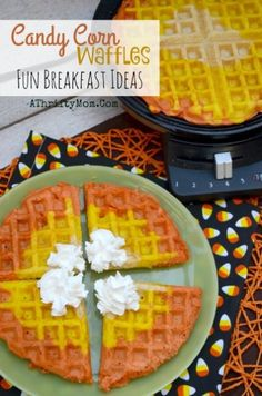Fun breakfast ideas for Halloween ~ Candy Corn Waffles - A Thrifty Mom - Recipes, Crafts, DIY and more Halloween Breakfast recipes and ideas, Candy Corn Waffles are fast and easy healthy Halloween recipes that will make your kids smile Halloween Desserts, Halloween Snacks For Kids, Healthy Halloween Treats, Halloween Candy, Halloween Ideas, Halloween Dishes, Halloween Breakfast, Birthday Breakfast, Breakfast For Kids