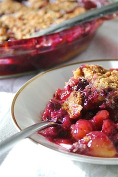 Peach and Blueberry Crisp     I double the crispy topping to make this dessert even better.