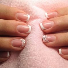 New Nails 2019 Tendencia Colores 52 Ideas Manicure Rose, French Manicure Nails, French Tip Nails, Cute Nails, Pretty Nails, Hair And Nails, My Nails, Unicorn Nails Designs, Bride Nails