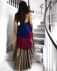 "Lux Saree Draping ""In love with this cancan style saree draping, inspired by the beautiful What do y'all…"" Half Saree Lehenga, Lehenga Style, Saree Look, Saree Dress, Ghagra Saree, Kanjivaram Sarees, Lehenga Blouse, Saree Wearing Styles, Saree Styles"