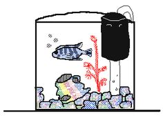 Hey, wow! I can upload flipnotes! This is my sister's pet fish Zeeba, who adopted my sister's re-organizational habits.
