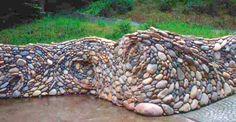 River rock garden wall