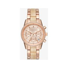 Michael Kors Ritz Rose Gold-Tone And Acetate Watch ($275) ❤ liked on Polyvore featuring jewelry, watches, rose gold, michael kors watches, polish jewelry, bezel jewelry, michael kors and pave jewelry