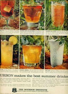 The Bourbon Institute Ad Cocktail Recipes W Photos (1960)