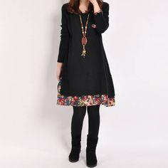 2c805aac Details about New Vintage Winter Women Long Sleeve Tunic Kaftan Soild Loose  Casual Mini Dress