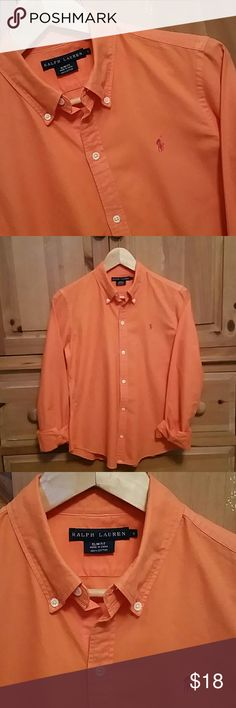 Ralph Lauren Button Down Shirt Bright orange button down shirt by Ralph Lauren. Slim Fit Size 8. Very small spot on left sleeve. No fading or tears. Ralph Lauren  Tops Button Down Shirts