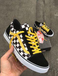 chaussure vans a carreaux jaune