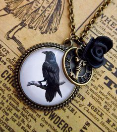 Steampunk Raven Necklace - Gothic Crow Cabochon $19.05