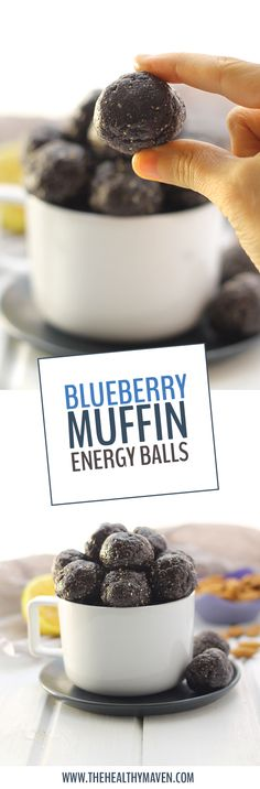 Want the taste of a sweet and delicious blueberry muffin, without all of the gunk? Make these Raw Blueberry Muffin Energy Balls for a nutritious snack that doesnt skimp on the flavor! Theyre the perfect no-bake recipe for a snack on the run or for a lu Nutritious Snacks, Healthy Sweets, Healthy Snacks, Protein Snacks, Healthy Protein Balls, Healthy Breakfasts, Easy Snacks, Eating Healthy, Raw Food Recipes