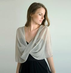 Items similar to Silver Shawl, Petite Size. Loop Shawl With 4 Wearing Options- Shawl, Shrug, Crisscross And Infinity Scarf. Small Size Cover Up, Petite Bride on Etsy would make with opaque pretty material to dress up and cover the fact that there's a Shrug For Dresses, I Dress, Lace Dress, Dress Shawl, Sewing Clothes, Diy Clothes, Party Clothes, Diy Fashion, Ideias Fashion