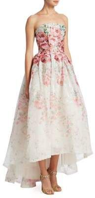 Monique Lhuillier Strapless Floral Midi Ball Gown   #dresses #moniquelhuillier #straplessdress #floral #ballgown #gowns #white #pink #highlowdress #shopping #shopmycloset #shoponline #shopstyle #onlineshopping #cute #love #life #lifestyle #fashion #fashionstyle #style #forsale #marketing #products