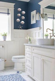Nautical Bathroom Decor, White Bathroom Decor, Bathroom Styling, Bathroom Ideas, Blue Bathroom Paint, Bathroom Wall Colors, Neutral Bathroom, Glass Bathroom, Bathroom Layout