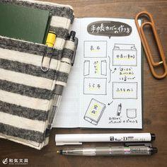 手帳カバーを自作しました。 縫製はガタガタですが(笑) 作り方を忘れないようにノートに書いておきました(^^) もう少し詳しく説明して欲しいという要望があったので、サイズのところを少し書き足しました。
