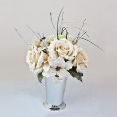 Best quality silk White Rose & Casablanca Lily $40.00
