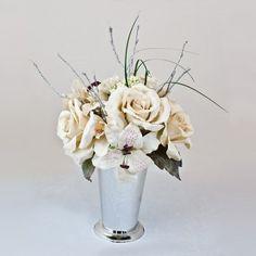 Best quality silk White Rose & Casablanca Lily