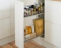 Pull-Out Base Unit - bet I can squeeze one of these in somewhere. Maybe next to cooker? Narrow Kitchen, Kitchen Units, Kitchen Cupboards, Kitchen Layout, Kitchen Appliances, Kitchen Ideas, Kitchen Inspiration, Kitchen Diner Designs, Howdens Kitchens