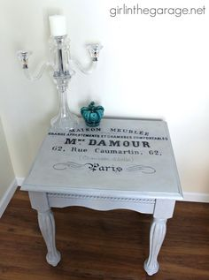 French Typography Table with Annie Sloan Chalk Paint in Paris Grey I girlinthegarage.net