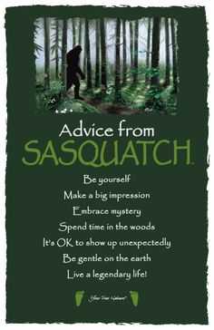"""""""Be gentle on the earth."""" Advice from Sasquatch Frameable Postcard #BigFoot"""