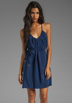 AMANDA UPRICHARD Button Back Dress in Navy