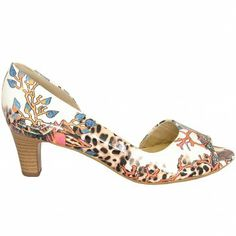 Peter Kaiser Calma peep toe coral print shoes - unique leopard and coral print white patent peep toe shoes