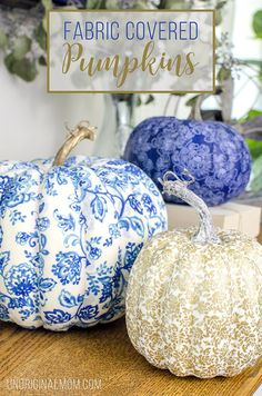 Create beautiful and unique DIY fabric covered pumpkins to match your decor using faux pumpkins, fabric strips and Mod Podge! | neutral fall decor | pumpkin crafts | fabric pumpkins | #handmadewithjoann #ad #falldecor