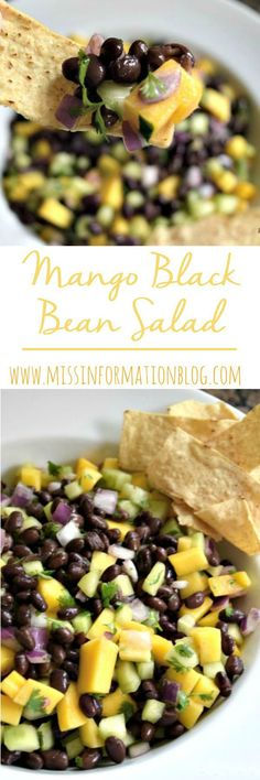 The Perfect Summer Salad, black bean mango salad works as a side, an appetizer or a dip. It's so easy to make so pin it now you have to make it! Pin this clean eating recipe for later. Black Bean Salad Recipe, Bean Salad Recipes, Bean Salads, Black Bean Recipes, Quick Snacks, Healthy Snacks, Healthy Eating, Mango Recipes, Summer Recipes