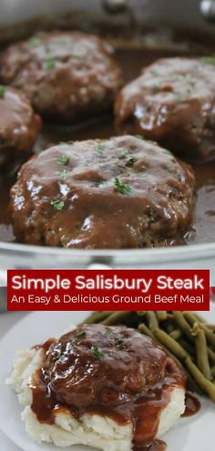 This Simple Salisbury Steak will make for a perfect weeknight recipe idea to serve the family. Add in some mashed potatoes and your favorite veggies for the ultimate comfort food. An easy meal idea that is inexpensive and tasty. Ground Beef Dishes, Ground Beef Meals, Healthy Ground Beef, Ground Venison, Ground Chicken, Salisbury Steak Recipes, Easy Salisbury Steak, Salisbury Steak Meatballs, Gourmet
