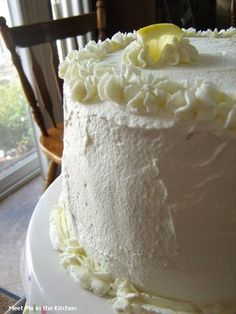 Doesn't this look like a Miss Ruth type of cake: Pinner said: Meet Me in the Kitchen: The Cake Slice-Triple Lemon Chiffon Cake Lemon Desserts, Lemon Recipes, Just Desserts, Delicious Desserts, Cake Recipes, Dessert Recipes, Yummy Food, Sweets Cake, Cupcake Cakes