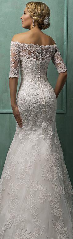 Amelia Sposa off the shoulder half sleeves trumpet wedding dress