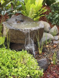 Top 17 Brick & Rock Garden Waterfall Designs – Start An Easy Backyard Decor Project - Easy Idea Small Garden Features, Stone Water Features, Small Water Features, Outdoor Water Features, Backyard Water Feature, Ponds Backyard, Backyard Landscaping, Landscaping Ideas, Backyard Ideas