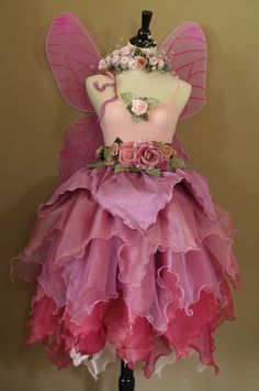 Pretty In Pink Fairy Gown * Peony Inspired * DIY Mini Couture! Assemblage Art * Gown Style Mini Dresses Made From Paper, Fabrics, Feathers, Flowers and Fabulousness!