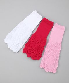 Take a look at this Rose & White Ruffle Leg Warmers Set by 500 Babies on #zulily today!